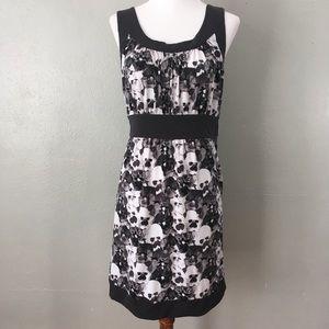 Ann Taylor LOFT Printed Floral Dress Black Grey
